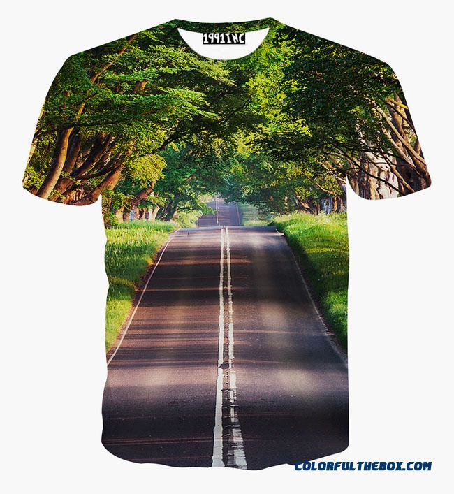 [mikeal] Nice Scenery T-shirt For Men/women 3d Tshirt Print Green Trees And Clean Road Casual Tops Tees T Shirt Free Shipping